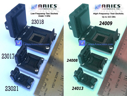 Aries IC test and Burn-in sockets low frequency and High Frequency